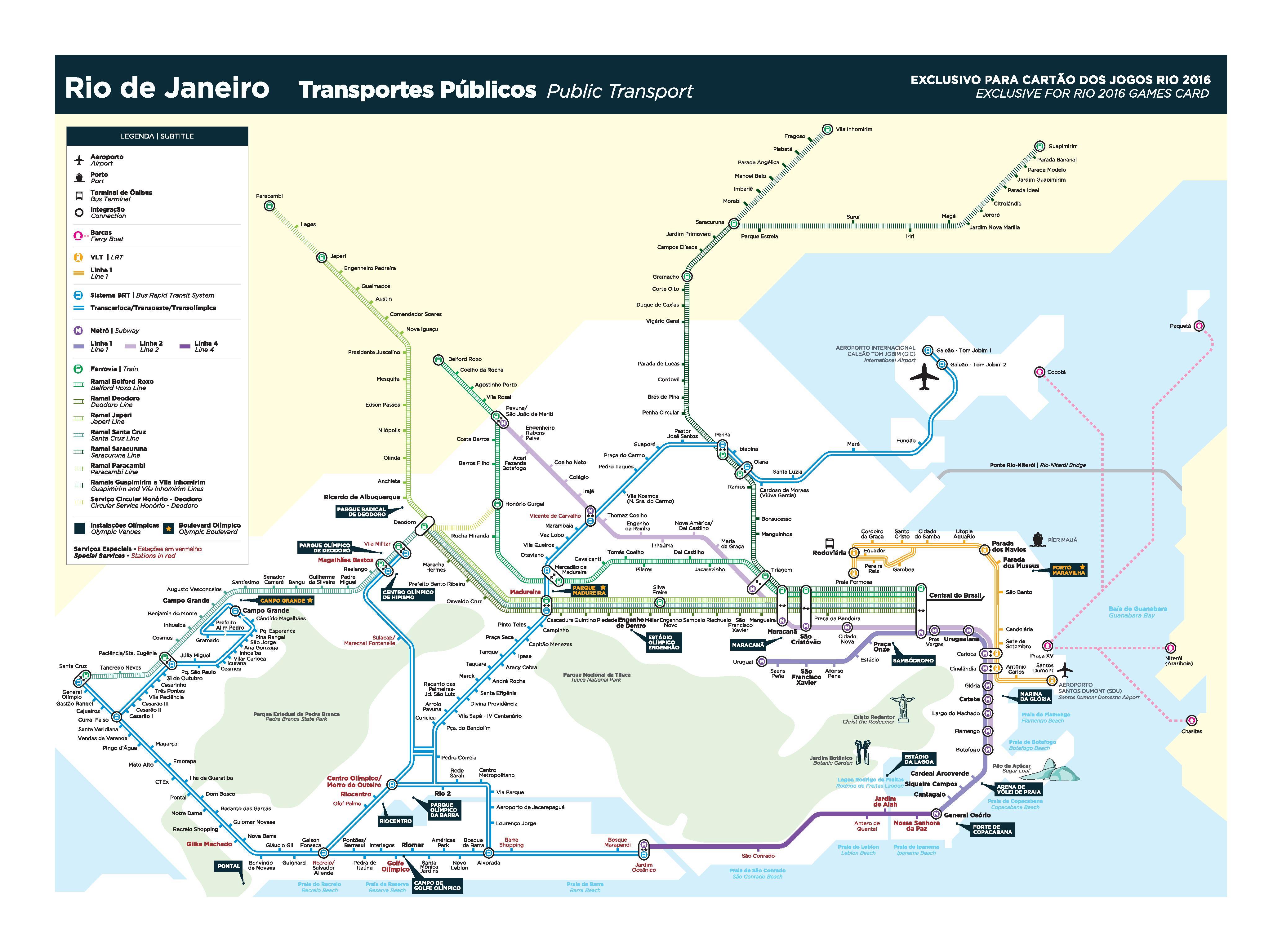 Esse mapa é ótimo para ver as conexões entre o BRT, trem, VLT e metrô!