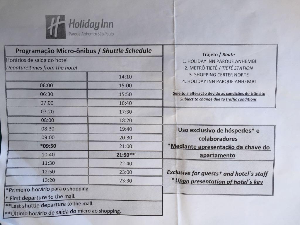 transfer holiday inn anhembi