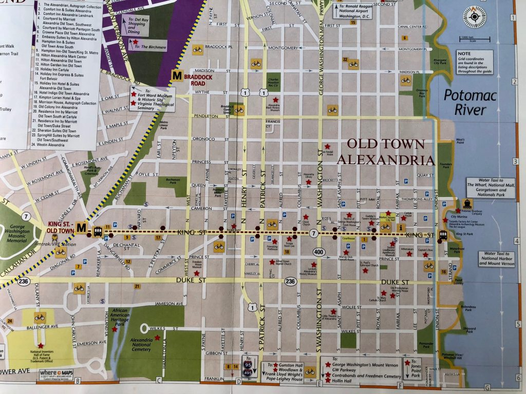 mapa turístico de alexandria virgínia estados unidos