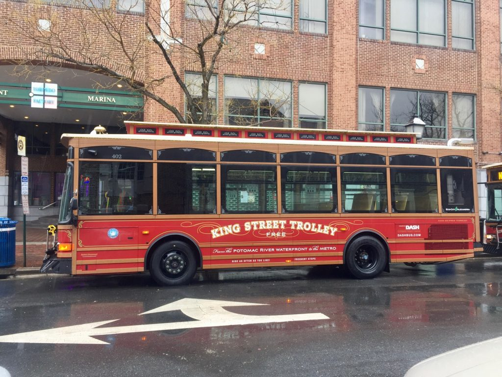 trolley ônibus gratuito em Alexandria Virgínia