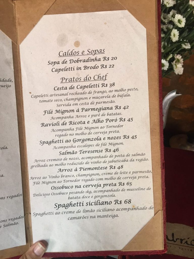Cardápio do Restaurante Fabrício's, em Santa Teresa
