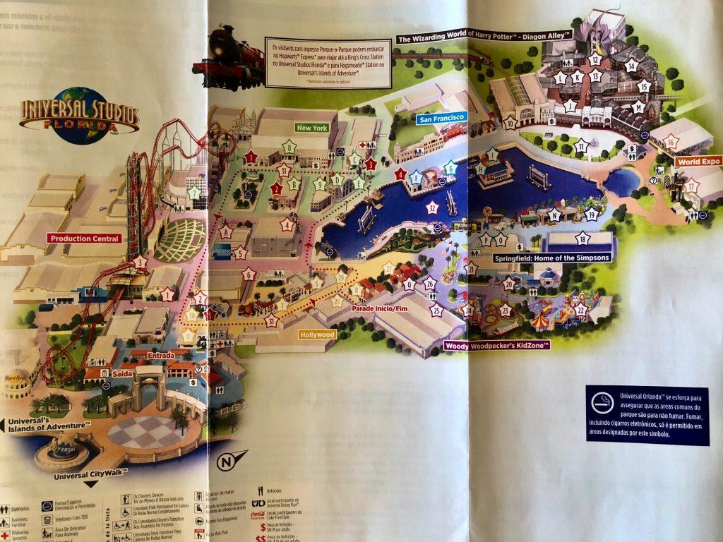 mapa parque universal studios em orlando