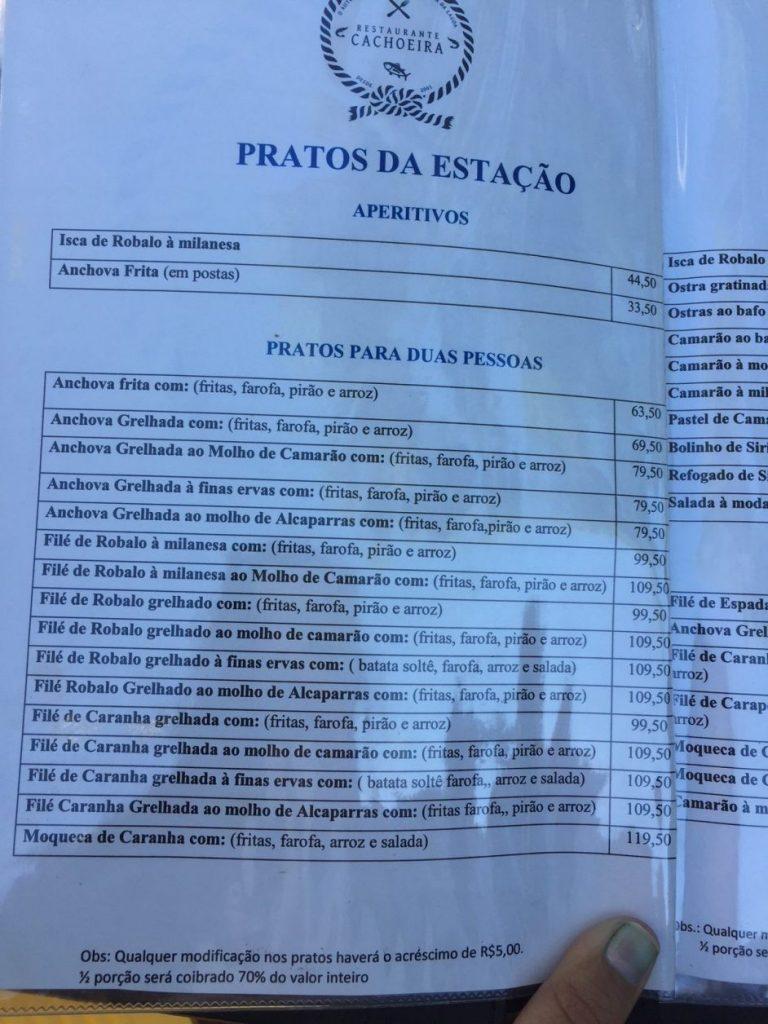 Preços Restaurante Cachoeira