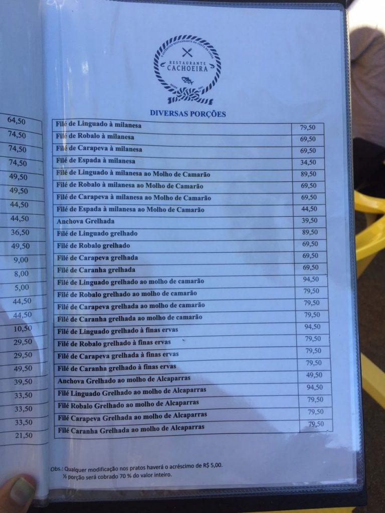Preços restaurantes Costa da Lagoa