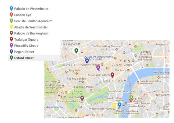 o que fazer em Londres mapa do centro da cidade