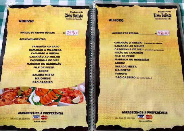 menu zinho batista