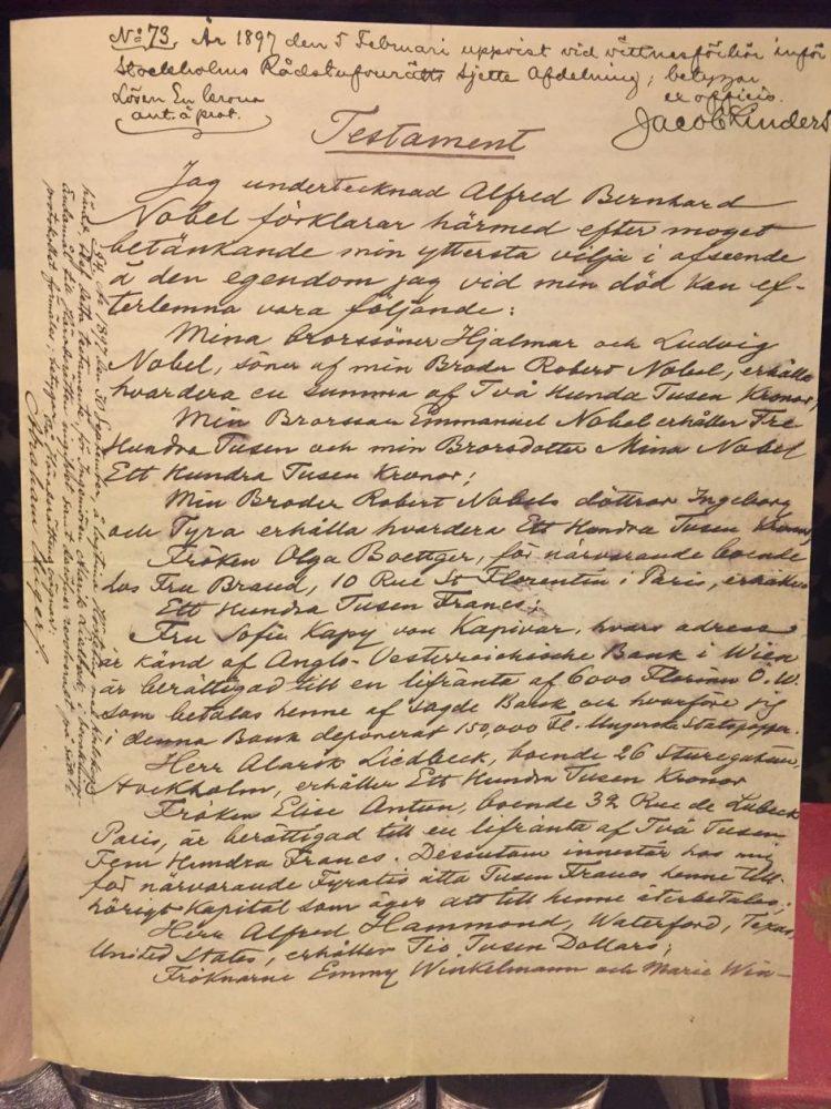 Testamento no qual Alfred Nobel destinou sua fortuna ao Prêmio