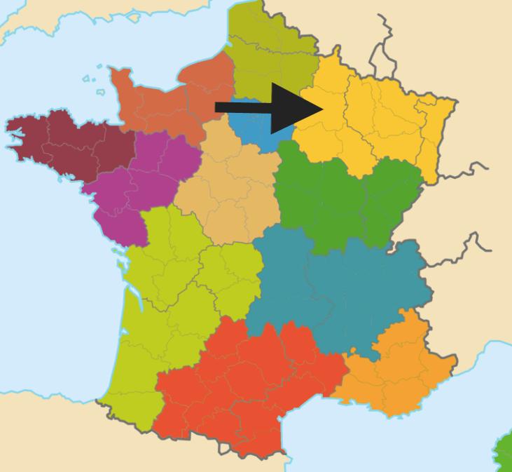mapa regiões francesas Alsácia