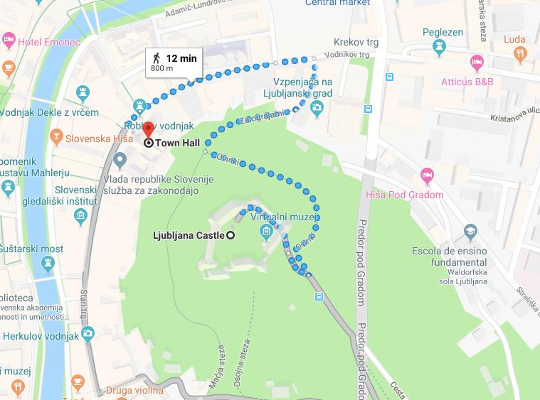 Ljubljana castle mapa