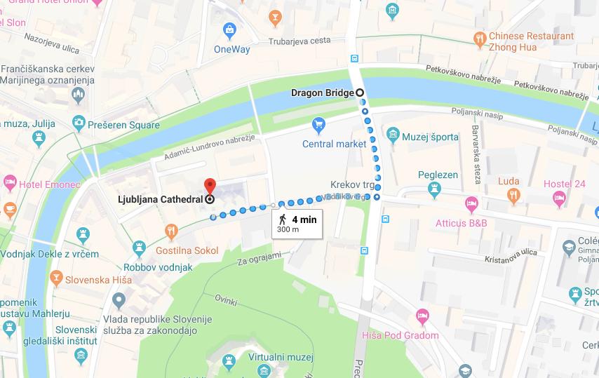 mapa dragón bridge liubliana