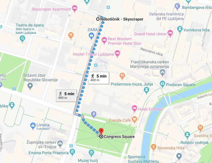 mapa Skyscraper liubliana