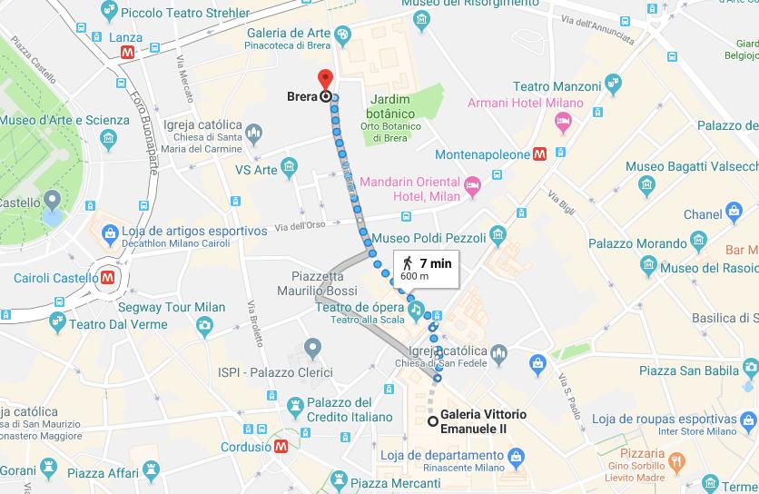 mapa atrações de Milão