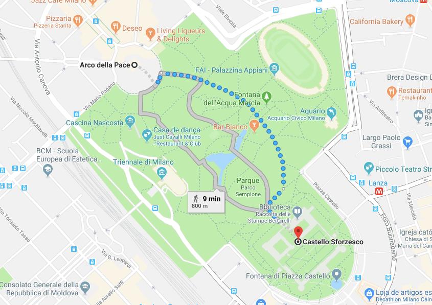mapa parque Sempione milao